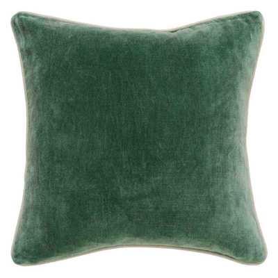 """Heirloom Velvet Pillow, Pine-18"""" x 18""""-ni insert - High Fashion Home"""