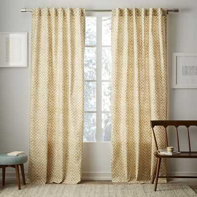 "Cotton Canvas Stamped Dots Curtain - 96"" - West Elm"