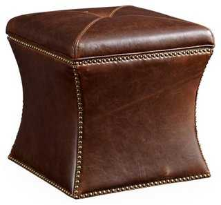 Manchester Storage Ottoman, Brwn Leather - One Kings Lane
