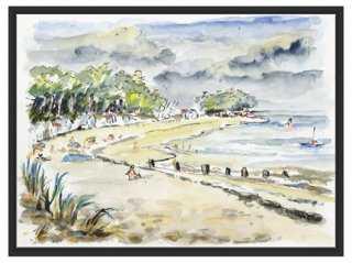 """Watercolor Landscape-31'5""""x23'5""""-Framed - One Kings Lane"""