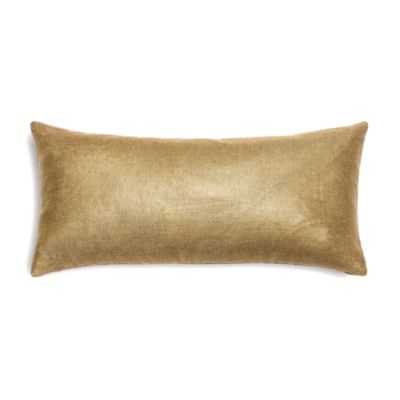 Metallic Gold Coated Khaki Linen Custom Lumbar Pillow - 12'' X 24''-insert not included - Domino