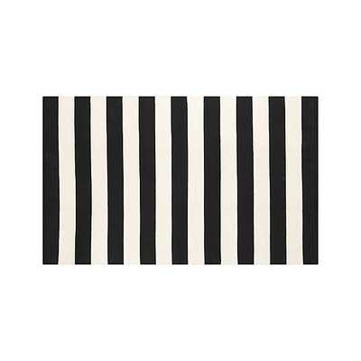 Olin Black Striped Cotton Dhurrie 5'x8' Rug - Crate and Barrel