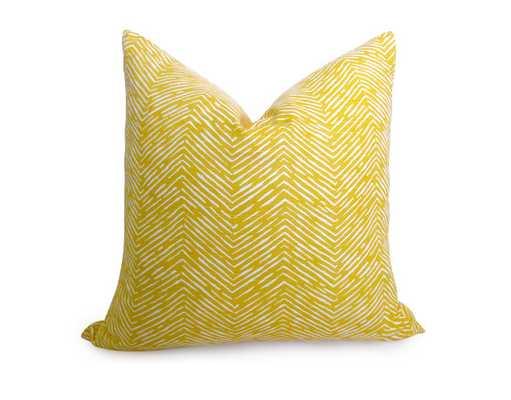Fishbone Chevron Pillow Cover - Yellow - 18X18 - No Insert - Willa Skye