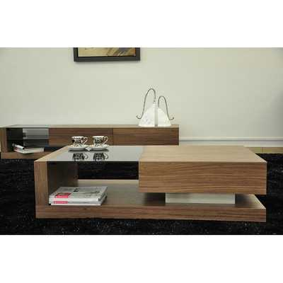 Porto Contemporary Coffee Table with Glass Top - AllModern