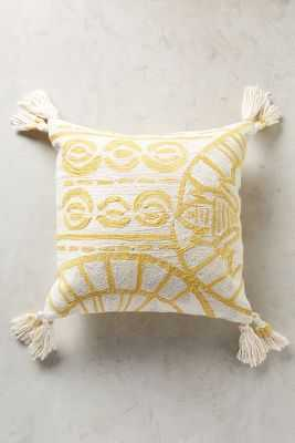 "Rocio Embroidered Pillow - Yellow - 20"" x 20"" - Polyfill - Anthropologie"