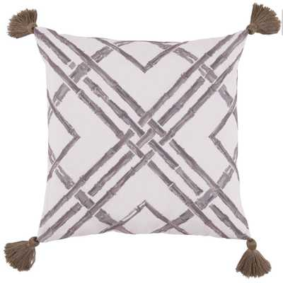 "Bamboo Taupe Outdoor Pillow - 20"" L X 20"" H - polyfill insert - Domino"