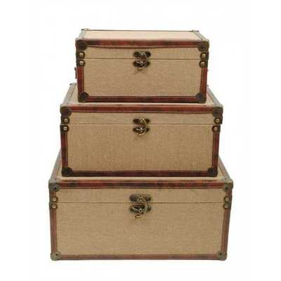 CreativeCo-Op Canvas Covered Trunk In Khaki Set Of 3 - nationalfurnituresupply.com