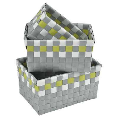 3 Piece Checkered Woven Basket Set - Green and Gray - Wayfair