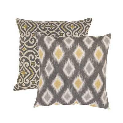 Pillow Perfect 'Damask' and 'Rodrigo' Square Throw Pillows (Set of 2) - Overstock