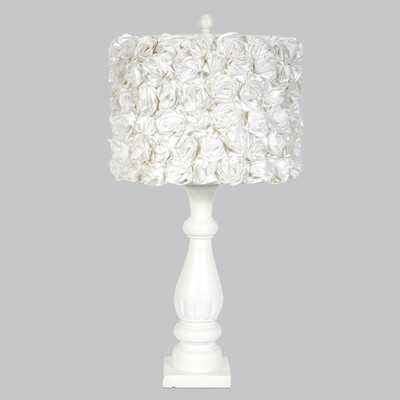 "Shabby Elegance 26.5"" H Table Lamp with Rose Garden Drum Shade - Wayfair"