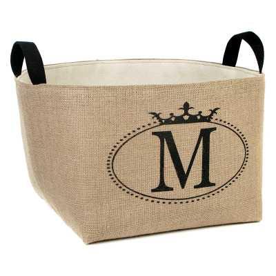 Personalized Crown Oval Burlap Storage Basket - Wayfair