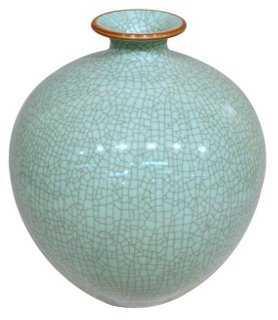 "13"" Crackle Pomegranate Vase, Celadon - One Kings Lane"