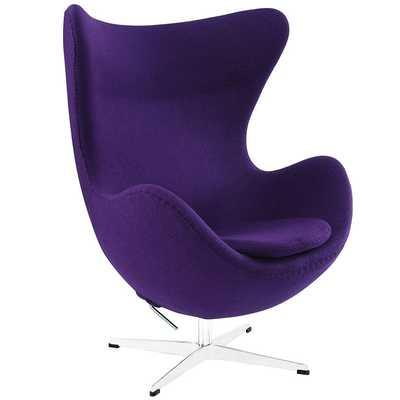 GLOVE WOOL LOUNGE CHAIR IN PURPLE - Modway Furniture