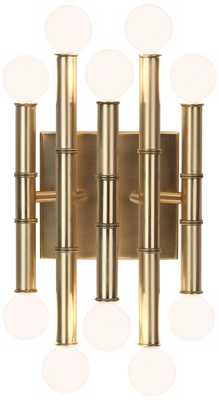 "Jonathan Adler Meurice 12"" High Antique Brass Wall Sconce - Lamps Plus"