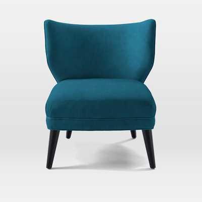 Retro Wing Chair - Luster Velvet, Celestial Blue - West Elm