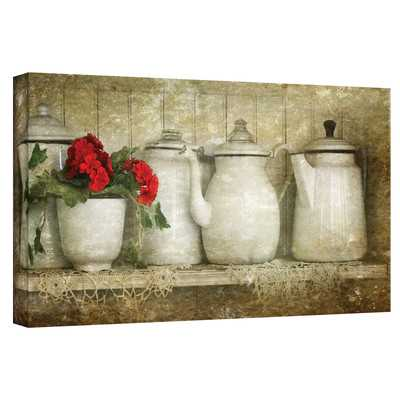 "'Flower with Pots' Graphic Art on Canvas - 24""H x 48""W - Wayfair"