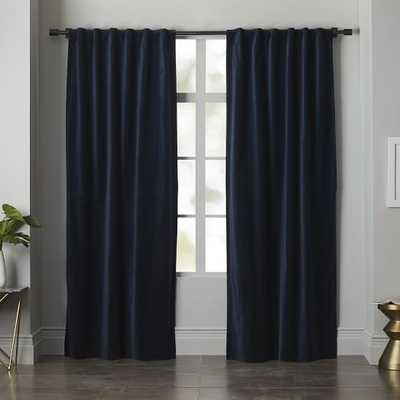 """Velvet Pole Pocket Curtain - Regal Blue - Unlined - 96""""L - West Elm"""