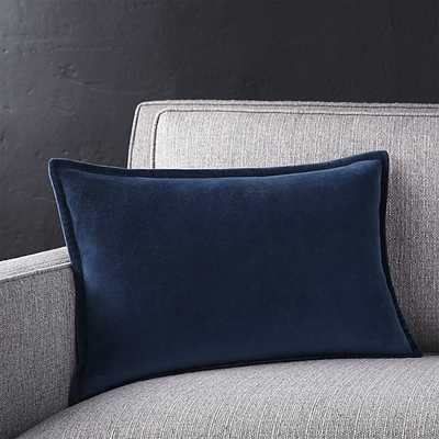 "Brenner Indigo 18""x12"" Pillow with Down-Alternative Insert - Crate and Barrel"