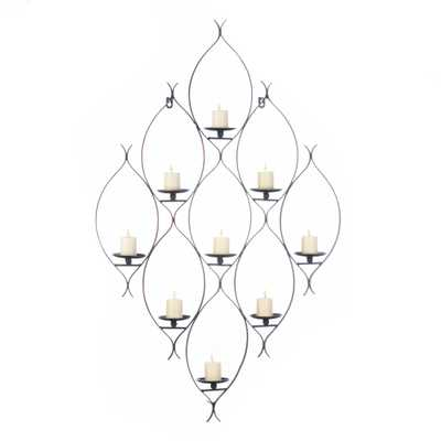 Wrought Iron Diamond Shape Wall Décor Candle Holder For 9 Candles - gallerydirect.com