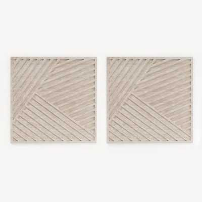 Whitewashed Wood Wall Art - Overlapping Lines - Set of 2 - West Elm