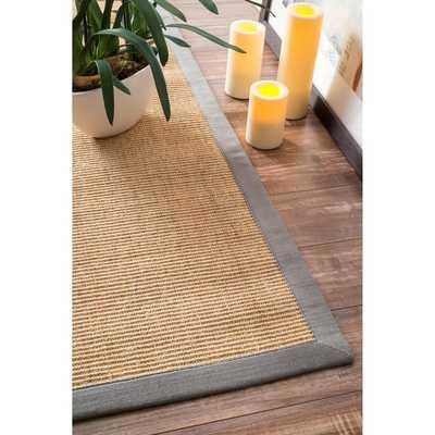 Handmade Alexa Eco Natural Fiber Cotton Border Sisal Rug (8' x 10') - Grey - Overstock