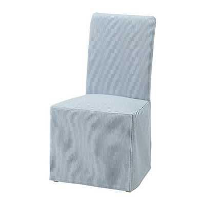 HENRIKSDAL Chair cover, long, Remvallen blue/white - Ikea