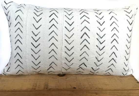 "12x20"" Inch White African Mud Cloth Pillow Cover - Insert Sold Separately - Etsy"