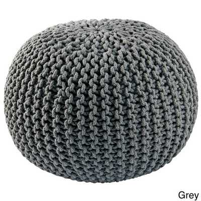 Cotton Rope 16-inch Pouf Ottoman - Grey - Overstock