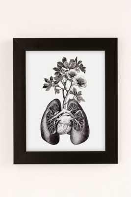 """Fleuriosity Flourishing Lungs Art Print-13""""x19""""-Black Matt Frame - Urban Outfitters"""