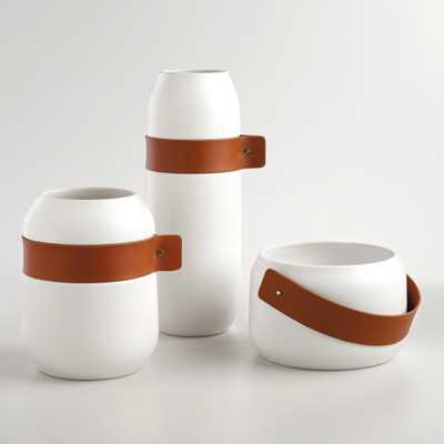 Ceramic Planter with Leather Strap - World Market/Cost Plus