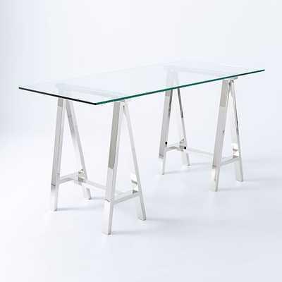 Glass Cross Base Desk - West Elm