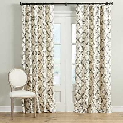 "Rosselli Embroidered Drapery Panel - Truffle, 96""L - Ballard Designs"