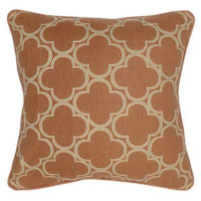 Rachel Cotton Throw Pillow - Mandarin, 20x20, With Insert - Wayfair