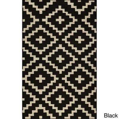 Mersa Diamonds Black Flat Weave Reversible Wool Dhurrie Rug - Overstock