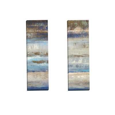 Portfolio Canvas Decor 'Blues Horizon Panel I' Gallery Wrapped Canvas by Michael Longo (Set of 2) - Overstock