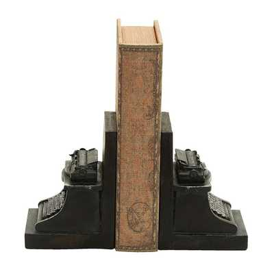 Old Look Typewriter Themed Book End Set - Overstock