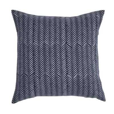 "Block Print Pillow -20""x20""-Blue-Down Insert - Domino"