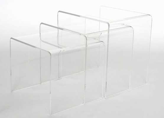 BAXTON STUDIO ACRYLIC NESTING TABLE 3-PC TABLE SET DISPLAY STANDS - Lark Interiors