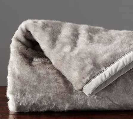 FAUX FUR THROW - GRAY BUNNY - Pottery Barn