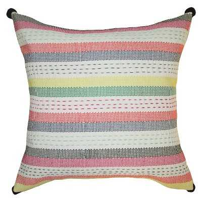 Embroidered Striped Pillow - 18x18, With Insert - Target