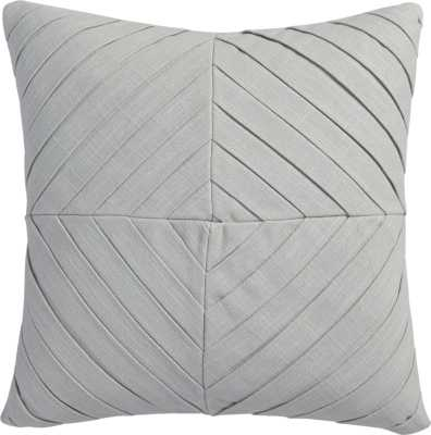 """meridian light grey 16"""" pillow with feather insert - CB2"""