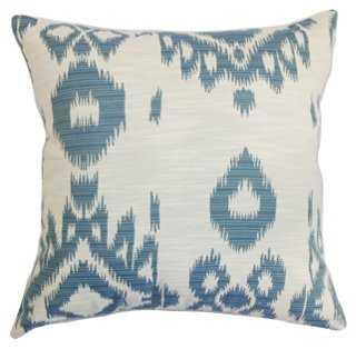 Gaera 18x18 Cotton Pillow, Denim - Down/feathers Insert - One Kings Lane