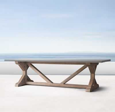 "84"" BELGIAN TRESTLE WEATHERED CONCRETE & TEAK RECTANGULAR DINING TABLE - RH"