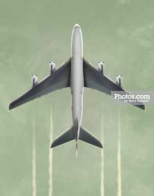 "Commercial aircraft landing, overhead view (Digital Composite) - 16"" x 20"" - Unframed - Photos.com by Getty Images"