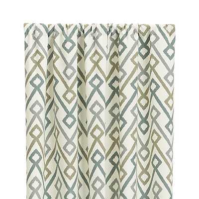 "Maddox 50""x96"" Khaki/Grey Curtain Panel - Crate and Barrel"