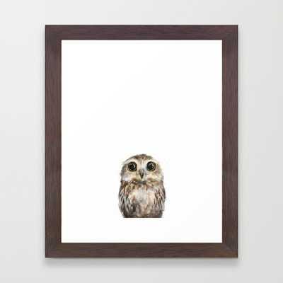 "Little Owl - FRAMED ART PRINT/CONSERVATION WALNUT MINI (10"" X 12"") - Society6"