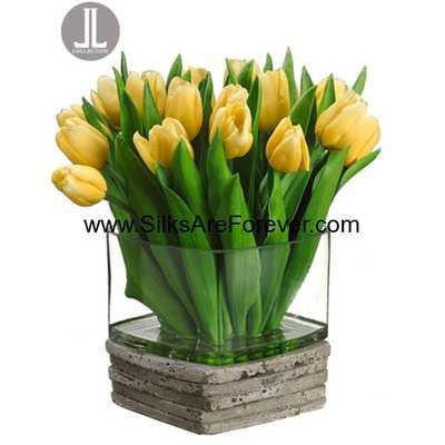"12"" Handwrapped Dutch Tulip Silk Flower Arrangement -Yellow - Silk Are Forever"