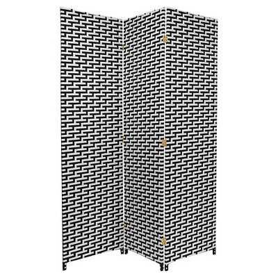 6 ft. Tall Woven Fiber Room Divider - Black/White - 3 Panel - Target