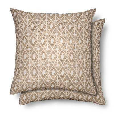 2 Pack Throw Pillows Ikat Diamond - Brown - 18sq. - Polyester insert - Target