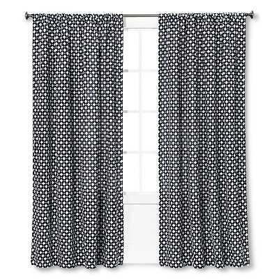 "Woven Curtain Panel Creamy Navy - Nate Berkusâ""¢-84'' - Target"